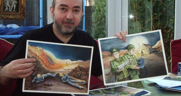 Spyros Melaris & paintings. 16.11.2007 crop
