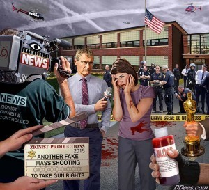 The last 5 elements of the false flag formula all revolve around the false flag hoax with fake victims and crisis actors. One of Dees' best images! Credit: David Dees